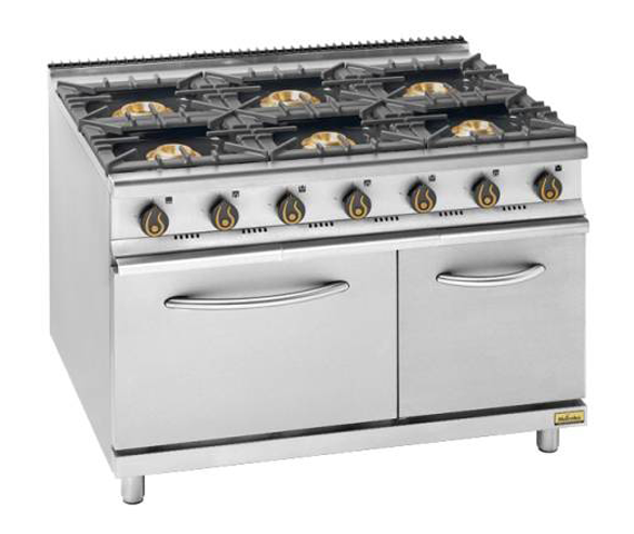GAS OPEN 6 BURNER WITH OVEN UNDER